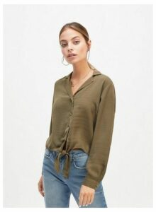 Womens Petite Green Tie Front Shirt, GREEN