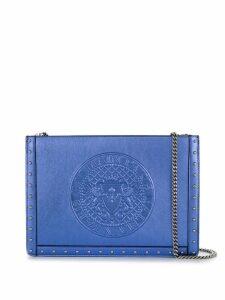Balmain metallic leather clutch - Blue