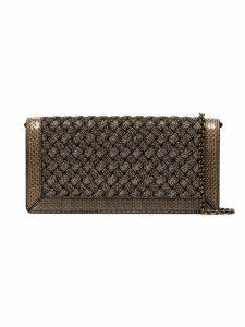 Bottega Veneta metallic weave foldover clutch bag - Gold