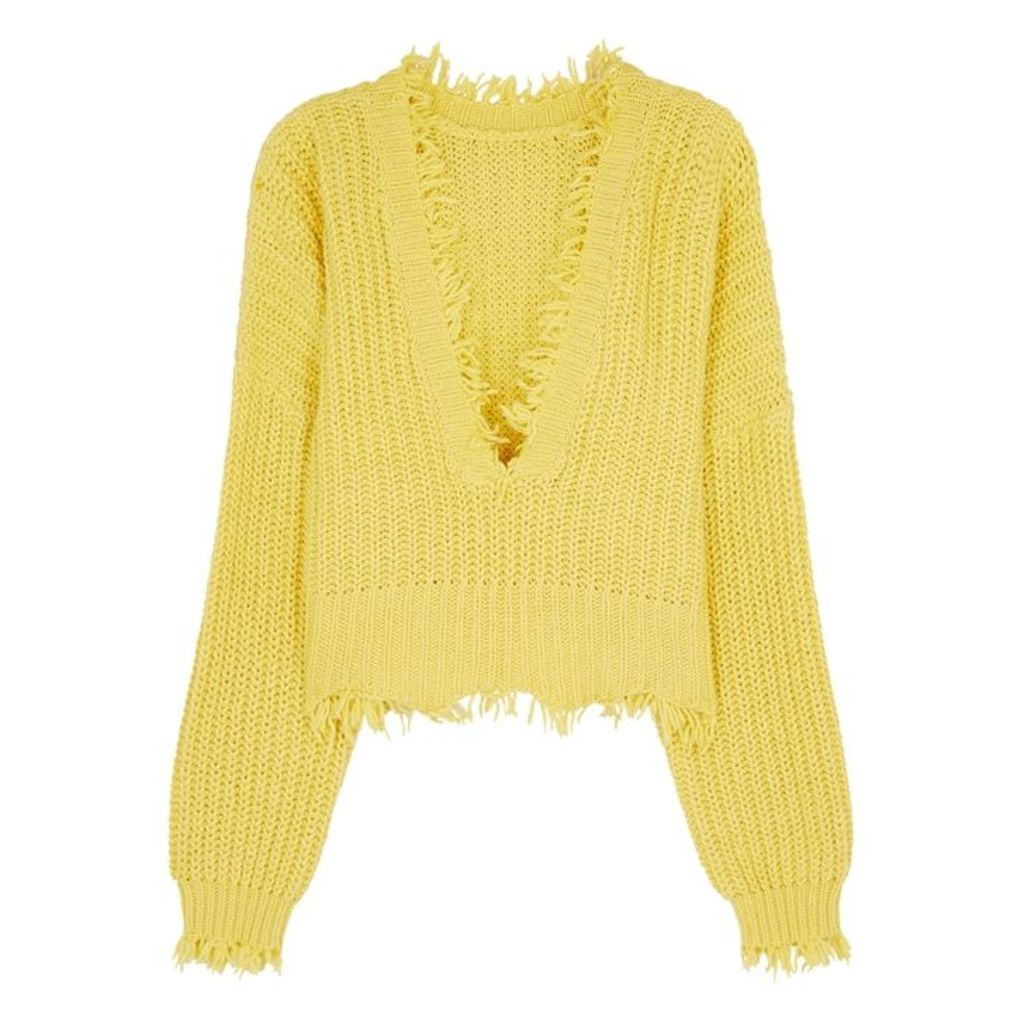 Wildfox Palmetto Yellow Chunky-knit Jumper