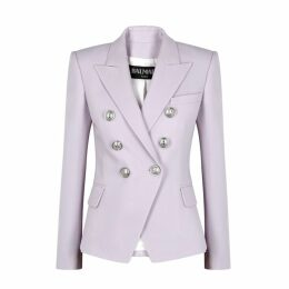 Balmain Lilac Double-breasted Wool Blazer