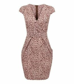 Blue Vanilla Mid Pink Leopard Print Tulip Dress New Look