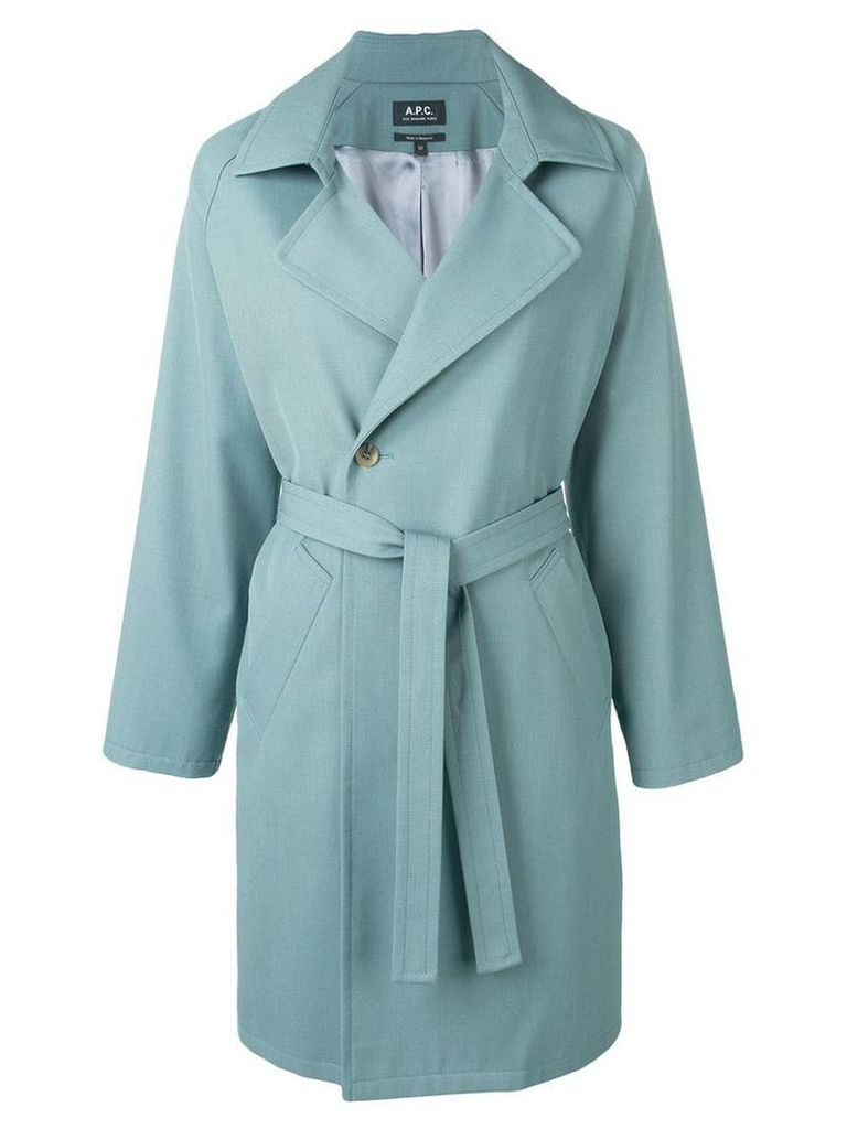 A.P.C. belted double breasted coat - Green