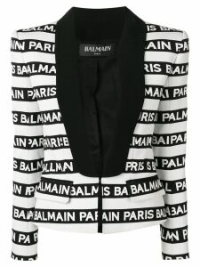 Balmain logo stripe tuxedo blazer - White