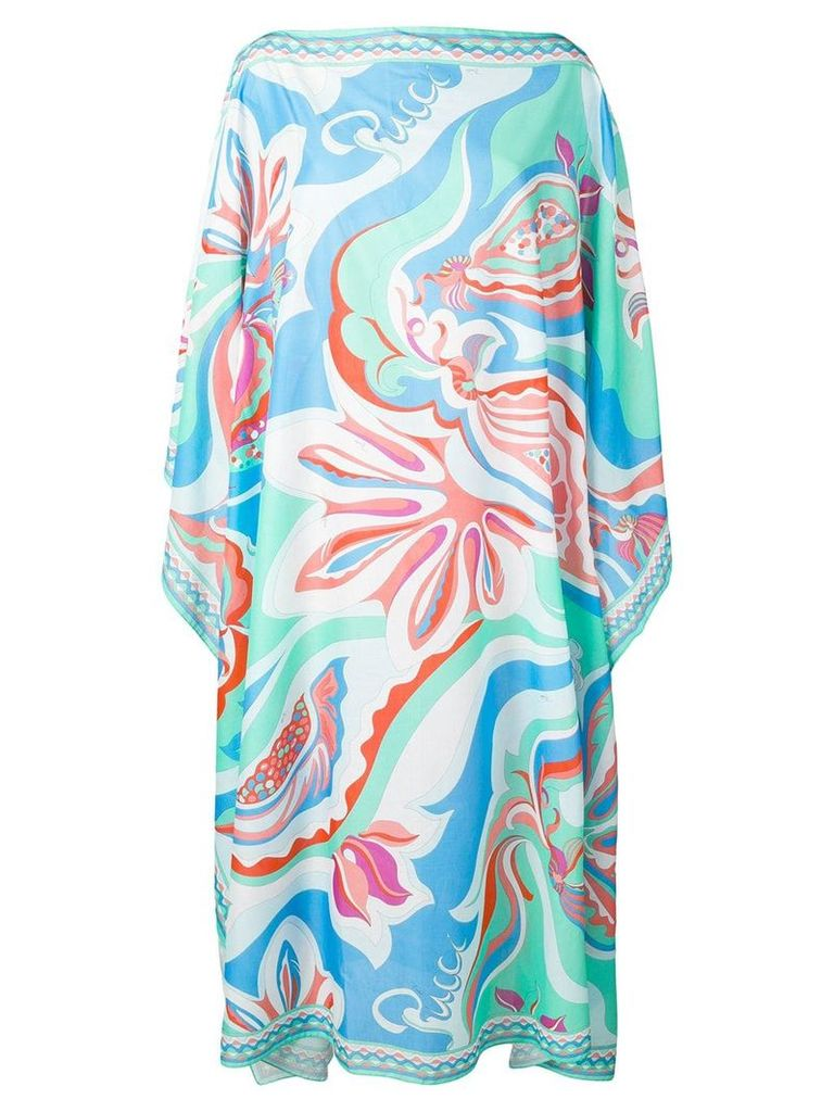 Emilio Pucci Badea Print Tiered Long Sleeve Dress - Green