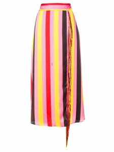 MSGM striped tassel skirt - PINK