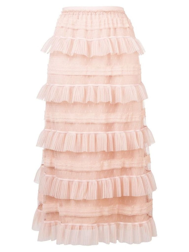 Red Valentino ruffled tiered skirt - Neutrals