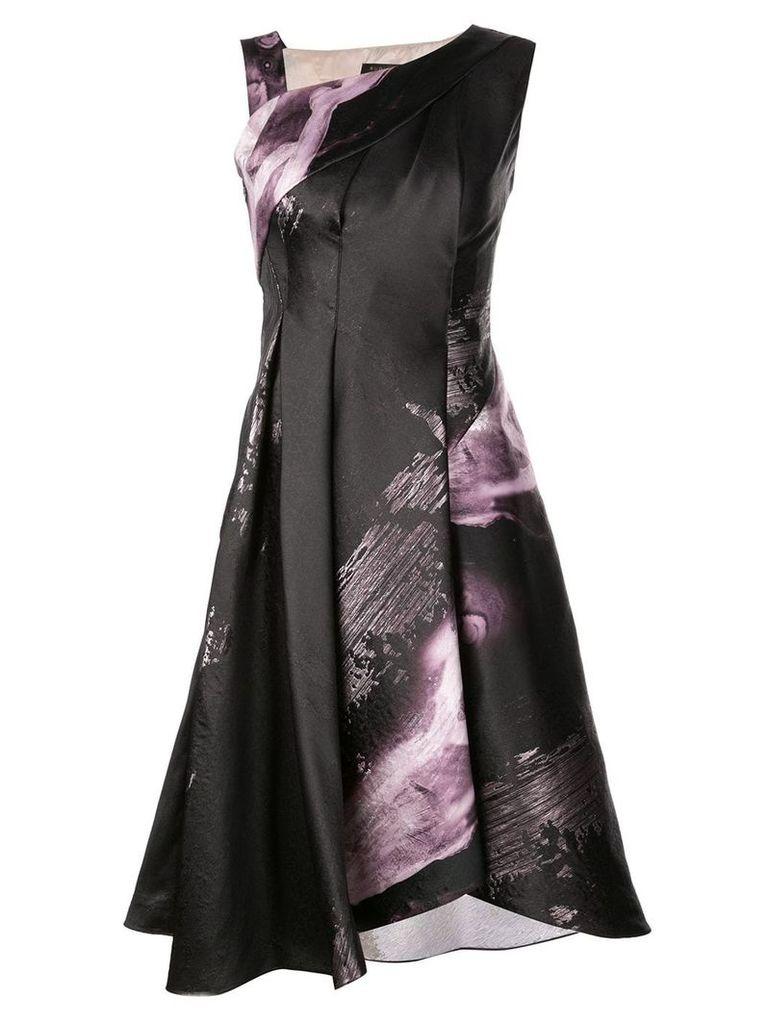 Rubin Singer floral A-line dress with asymmetrical neckline - Black