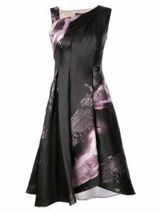 Rubin Singer floral A-line dress with asymmetrical neckline - Black