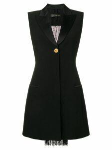 Versace beaded fringe tuxedo dress - Black