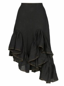 Marques'Almeida ruffled hem midi asymmetric linen skirt - Black
