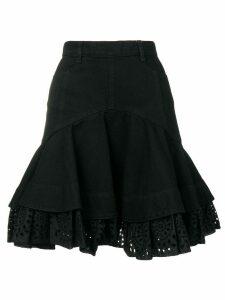 Alexander McQueen flared denim-style skirt - Black
