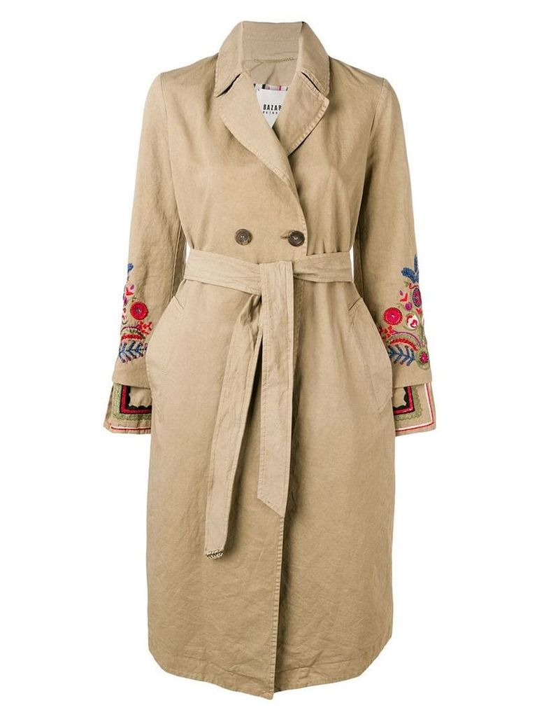 Bazar Deluxe embroidered trench coat - Neutrals