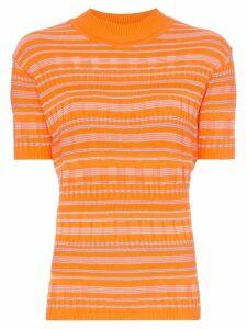 Cap Barbara stripe print knitted mock neck T-shirt - Orange