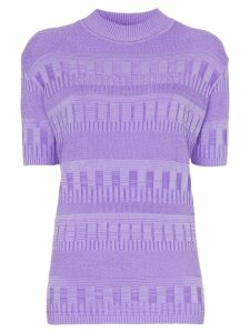 Cap turtleneck ribbed detail knitted T-shirt - Purple