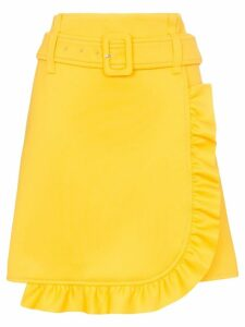 Prada belted ruffle detail skirt - Yellow