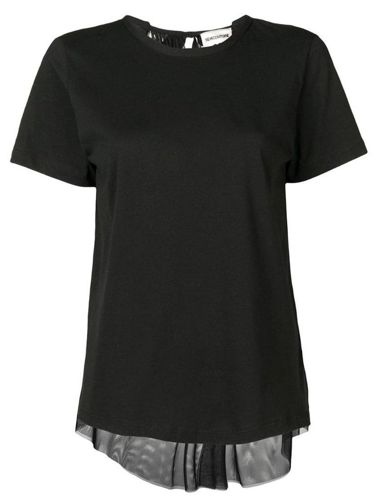 Semicouture plated net back T-shirt - Black