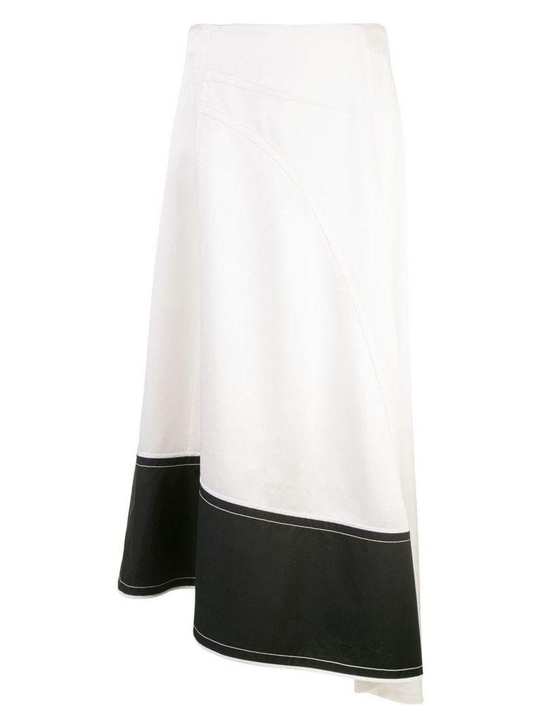 Derek Lam Asymmetric Pebble Crepe Satin Midi Skirt with Contrast Hem