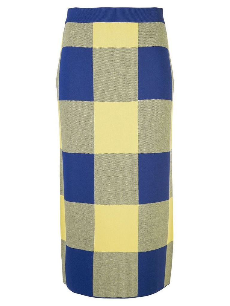 Derek Lam Gingham Jacquard Knit Pencil Skirt - Blue