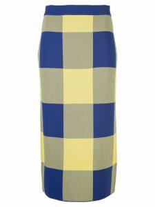 Derek Lam Gingham Jacquard Knit Pencil Skirt - Blue