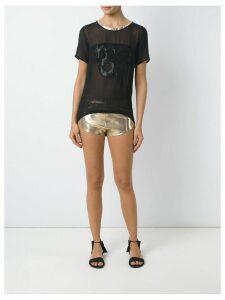 Adriana Degreas round neck silk t-shirt - Black