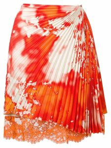 MSGM asymmetric pleated skirt - ORANGE