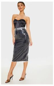 Black Clear Belted Midi Skirt, Black
