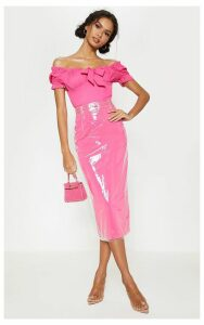 Hot Pink Clear Belted Midi Skirt, Hot Pink