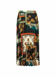 Womens Black Scarf Print Pleated Skirt- Black, Black