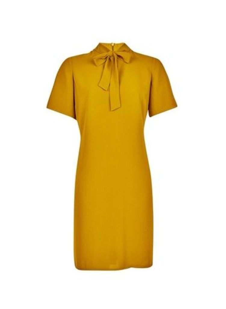 Womens Yellow Pussybow Shift Dress- Orange, Orange
