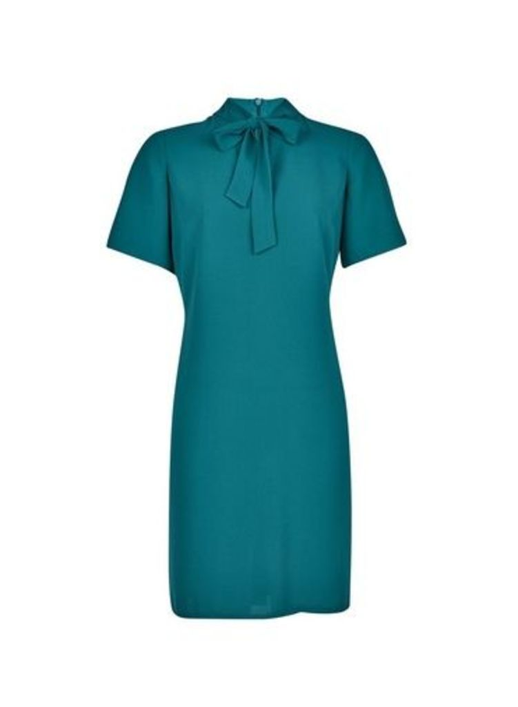 Womens Green Pussybow Shift Dress- Green, Green