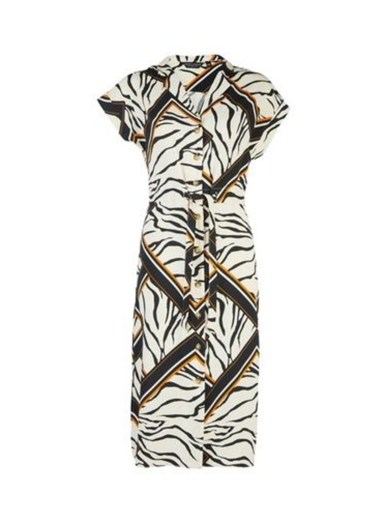 Womens Cream Tiger Print Shirt Dress- Cream, Cream