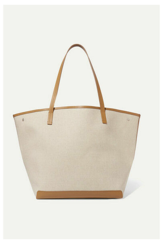 The Row - Park Xl Leather-trimmed Canvas Tote - Beige