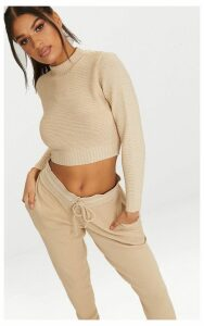 Stone Ribbed Cropped Knitted Jumper, White