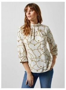 Womens Ivory Bee Chain Print Roll Neck 3/4 Sleeve Blouse- Ivory, Ivory