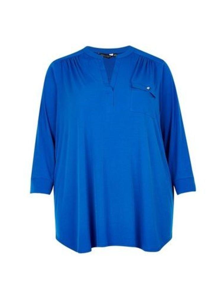 Womens **Dp Curve Cobalt Interlock Twist Yarn Zip Shirt- Cobalt, Cobalt
