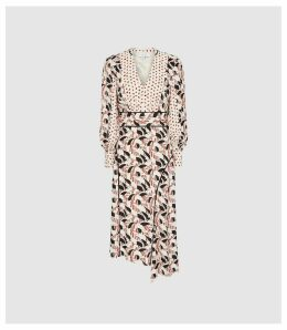 Reiss Emmi - Printed Midi Dress With Side Split in Multi, Womens, Size 16