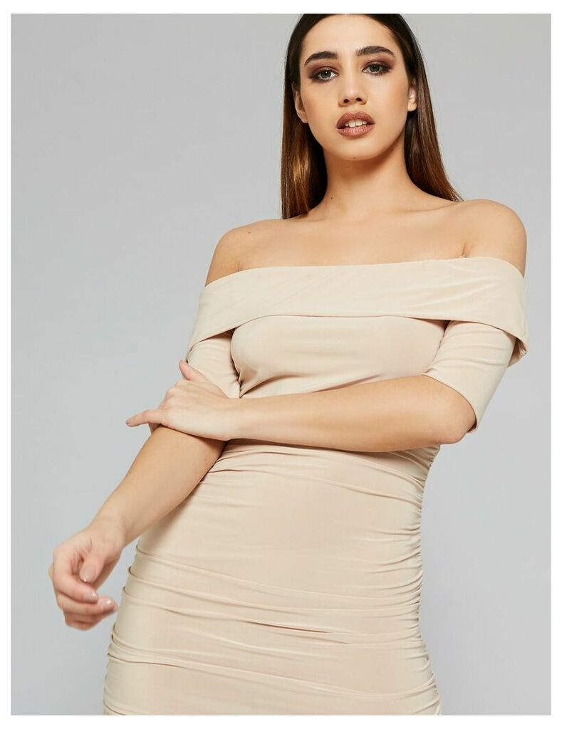Slinky Bardot Dress, Nude
