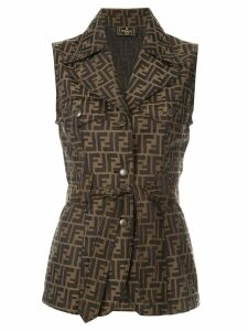Fendi Pre-Owned logo tied sleeveless jacket - Brown