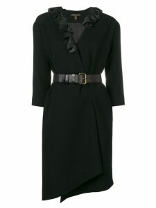 Louis Vuitton Pre-Owned ruffled belted dress - Black