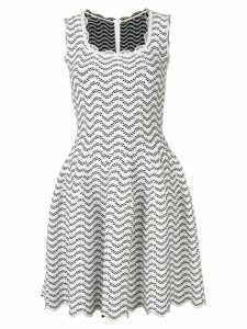 Alaïa Pre-Owned geometric patterned flared dress - White