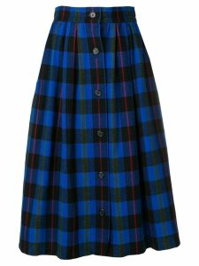 Yves Saint Laurent Pre-Owned checked full skirt - Blue