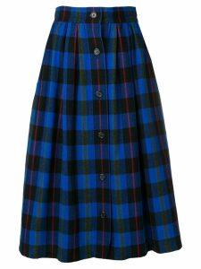 Yves Saint Laurent Pre-Owned checked full skirt - Blue