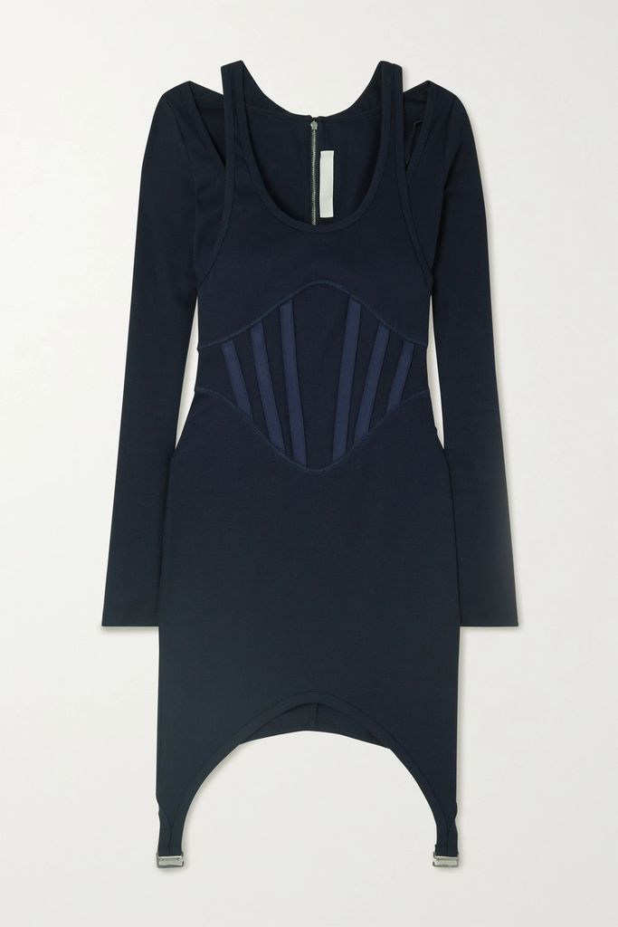 By Malene Birger - Lace-up Woven Midi Skirt - Midnight blue