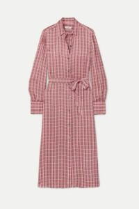 Equipment - Rosalee Checked Silk-blend Satin Midi Dress - Pink