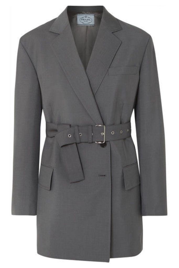 Prada - Belted Mohair And Wool-blend Blazer - Gray