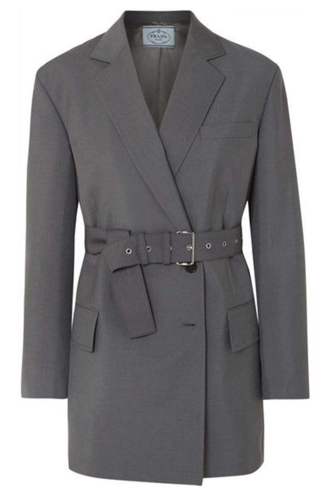Prada - Belted Mohair And Wool-blend Blazer - Gray