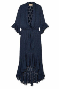 Adriana Degreas - Marine Ruffled Polka-dot Georgette Maxi Dress - Navy