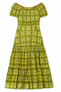 Michael Kors Collection - Off-the-shoulder Checked Tiered Cotton-poplin Midi Dress - Lime green