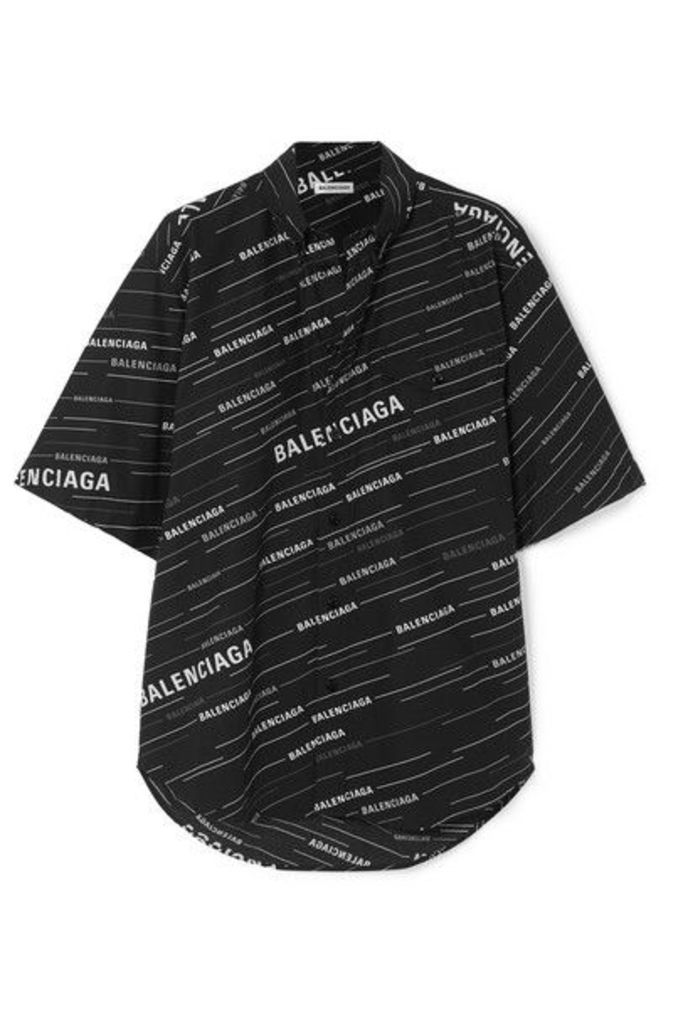 Balenciaga - Oversized Printed Cotton-poplin Shirt - Black